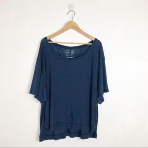 Free People slouchy oversized blue tee